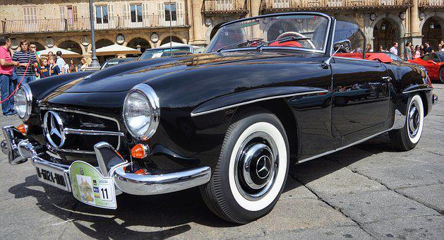Vintage, Mercedes, Black, Soft, Top, Spain