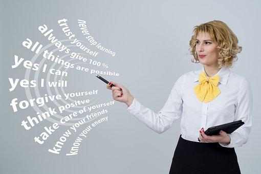 Successful, Think, Businesswoman, Presentation, Target