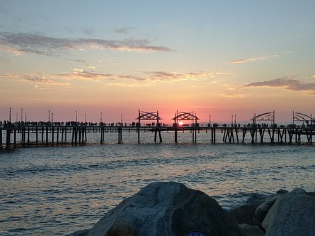 Pier, Sunset, Peaceful, Ocean, Vacation, Tourism, Water