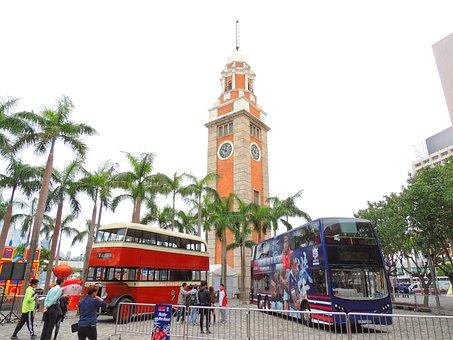 Hongkong, Bus, Clock, Tower, City, Urban, Street, Road