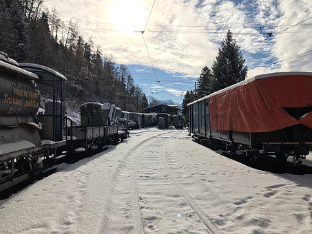 Snow, Train, Depot, Winter, Railway, Railroad