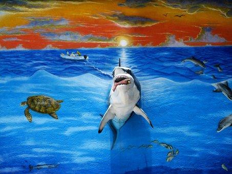 Three Dimensional Mural, Florida Keys, Shark, Painting