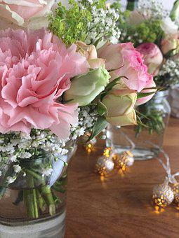 Flowers, Pink, Roses, Wedding, Lights, Pink Flowers