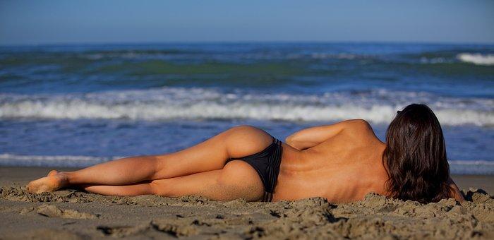 Girl, Lying, Sea, Beach, Person, People, Beauty, Women