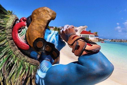 Mexico, Death Mask, Sea, Sand, Beach, Clouds, Color