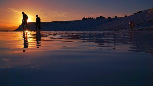 Pamukkale, Travertine, Turkey, Sunset, Landscape