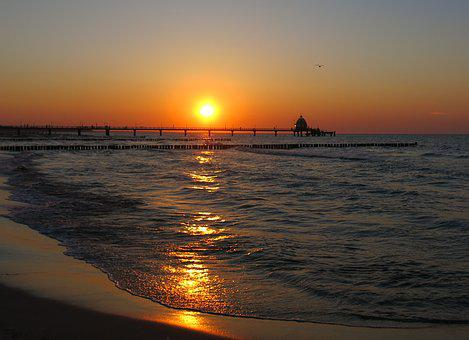 Baltic Sea, Zingst, Sunset, Nautilus Is Starting, Sea