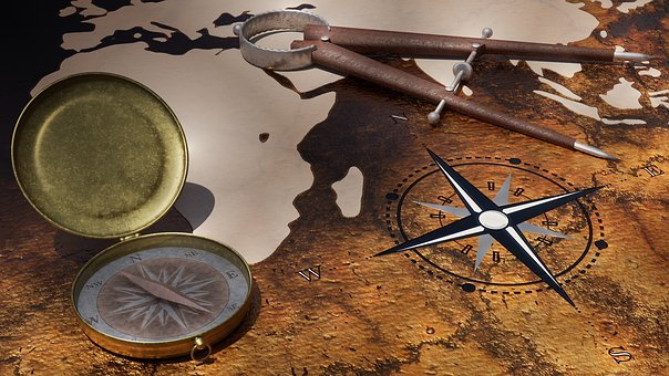 Travel, Globetrotter, Compass, Zirkel, Map Of The World