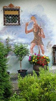 Facade, Wall, Mural, Painted Wall, Garden, Bavaria