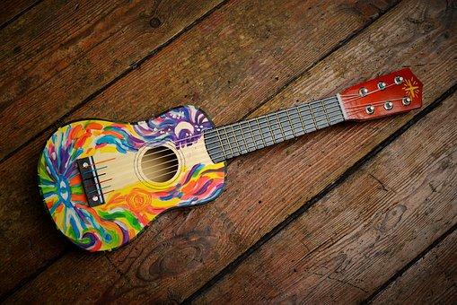 Guitar, Gitarka, Music, Colors, Instrument