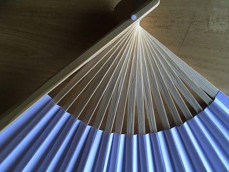 Japanese Fan, Paper Fan, Abstract Blue, Texture