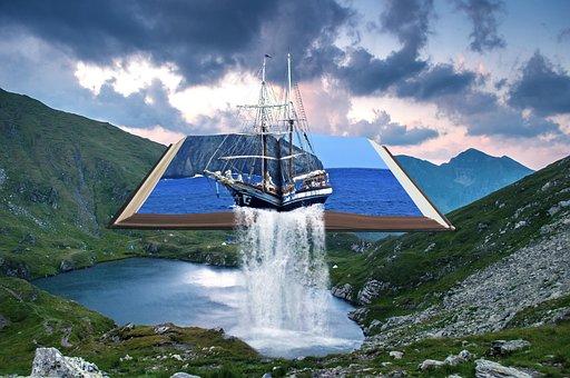 Waterfall, Book, Landscape, Mountains, Nature, Lake