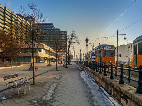 Budapest, Boulevard, River, Danube, Landscape, City