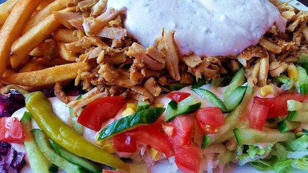 Doner Kebab, Donerteller, Zaziki, Tsaziki, Meat, Lunch