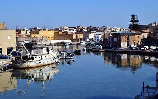 Port, River, Sicily, Mazara Del Vallo, Mouth, Water