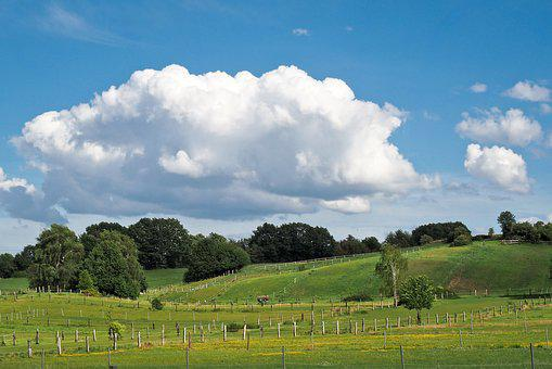 Landscape, Field, Nature, Agriculture, Meadow, Clouds