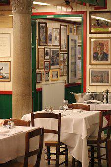 Restaurant, Pictures, Art, Table, Dining, Vintage