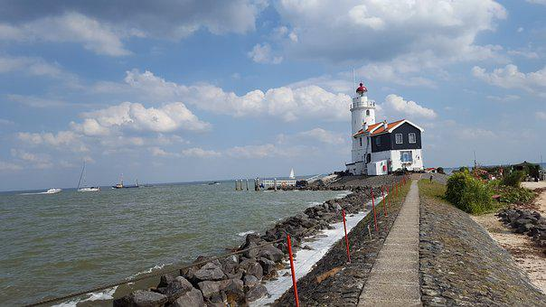 Lighthouse, Sea, Holland, Landscape, Summer, Clouds