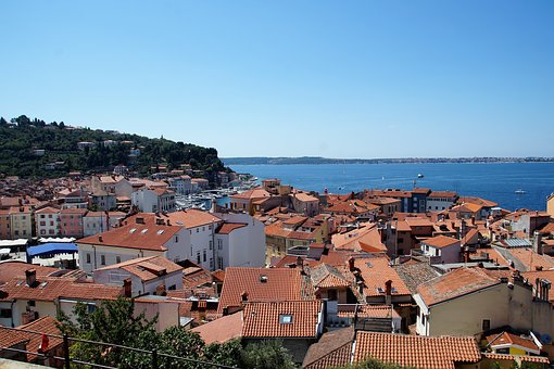The City Of Piran, The Roofs Of The Houses, Sea