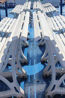 Seats, White, Blue, Nautical
