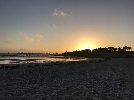 Sunset, Sea, Twilight, Horizon, Landscape, Yellow, Sun