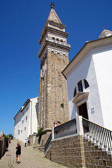 The City Of Piran, Church, Tower, Steeple, Architecture