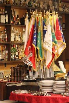 Restaurant, Flags, Plates, Cutlery, Italian, Venice