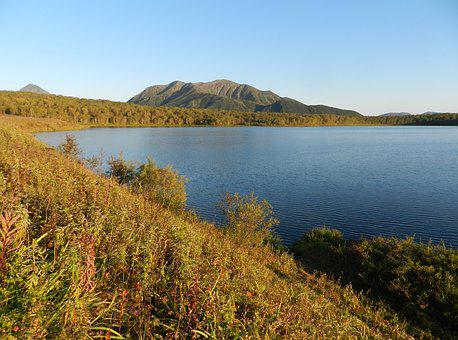 Lake, Mountains, Forest, Greens, Birch, Autumn, Tundra
