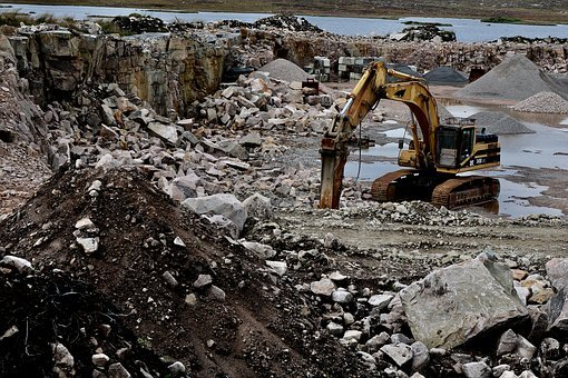 Quarry, Excavators, Work, Destruction