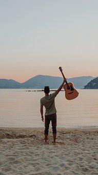 Music, Guitar, Beach, Italy, Notes, Musician, Guitarist