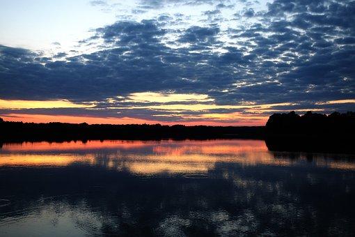 Lake, Sunset, Reflection, Paint, Clouds, Landscape