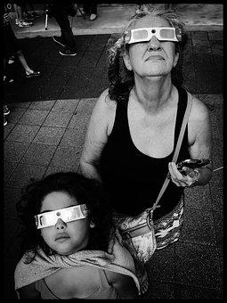 Eclipse, Solar Eclipse, Glasses, Expression, Looking Up