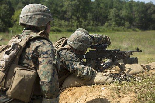 Marines, Training, Exercise, Machine Gun, Lmg, Military