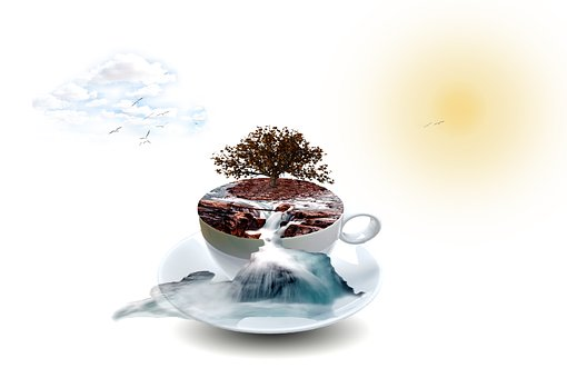 Photo Montage, Cup, Waterfall, Spray, Tree, Landscape