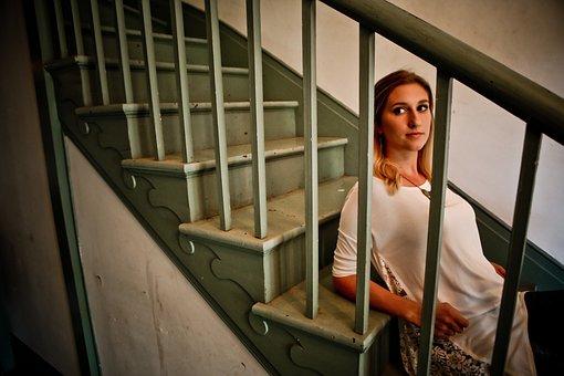 Model, Teen, Girl, Woman, Blonde, Solitude, Stairway