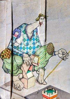 Wall, Art, Street, Graffiti, Cartoon, Character, Spain