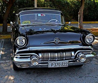 Cuba, Car, Pontiac, Chieftain, Antique, Taxi, Black