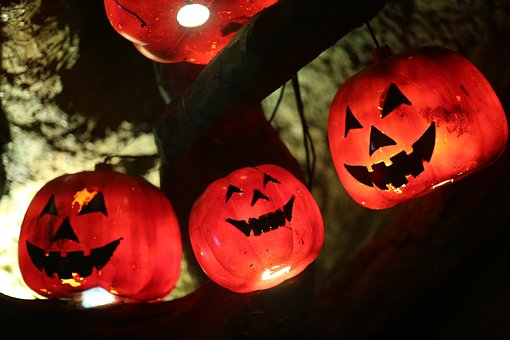 Jack-o-lantern, Halloween, Red, Dark, Smiley Face