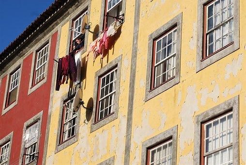 Porto, Houses, Drying Rack, City, Urban, Windows, House
