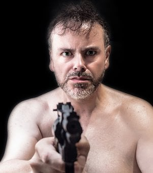 Man, Mature, Portrait, Mafia, Violence, Weapon, Gun