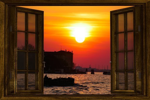 Emotions, Sunset, Sea, Romantic, Venice, Window