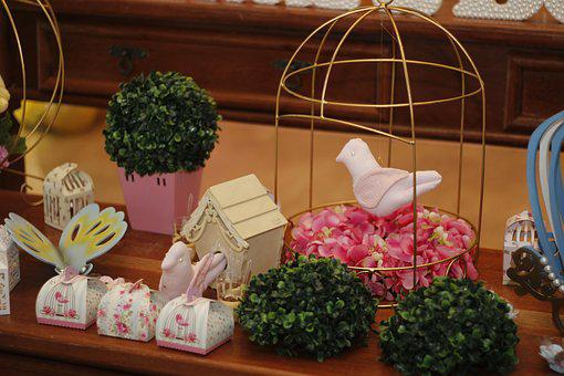 Decoration, Children's Party, Dove, Cage, Butterfly