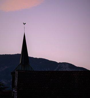 Clôcher, Setting, Evening, Church, Sunset, Twilight