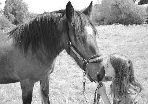 Kiss, Horse, Girl, Woman, Young, Complicity, Tenderness