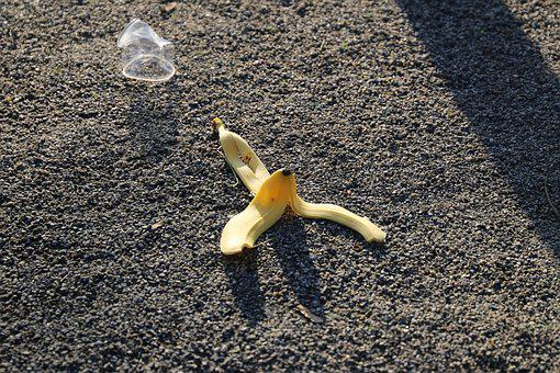 Dirt, Outside, Banana, Waste, Natural, Plastic, Peel