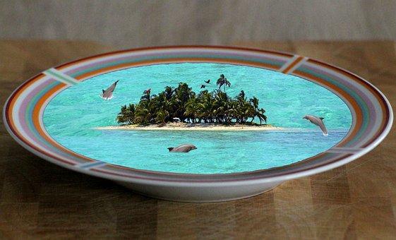 Fantasy, Plate, Island, Soup, Dolphins, Meeresbewohner