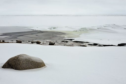 Winter, Bay, Ice, Snow, Gulf Of Finland, Stones, Cold