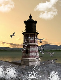 Lighthouse, Gulls, Water, Coast, Clouds, Mood, Sea, Sky