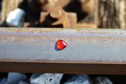 Red Heart On Railway, Stop Teenager Suicide