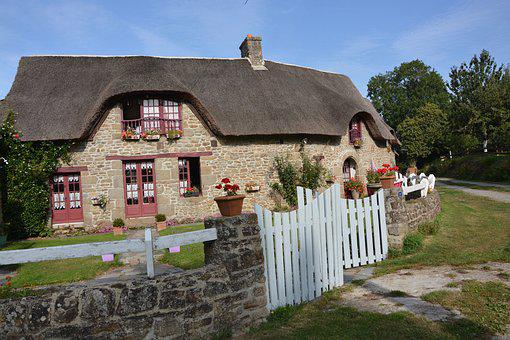 Cottage, Rustic House, Roof Thatched, Stone House